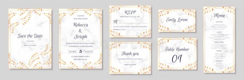 Eleganta gifta sig inbjudningar ställde in med guld- blom- bevekelsegrunder och grå marmortextur royaltyfri illustrationer