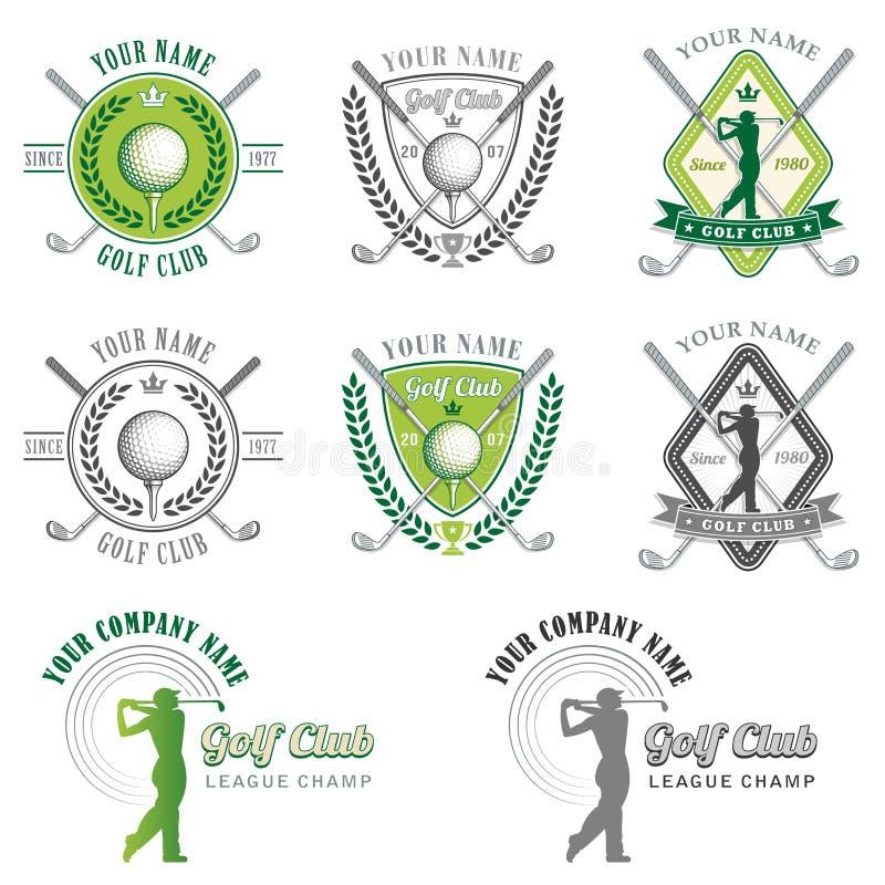 Eleganta golfklubblogoer vektor illustrationer