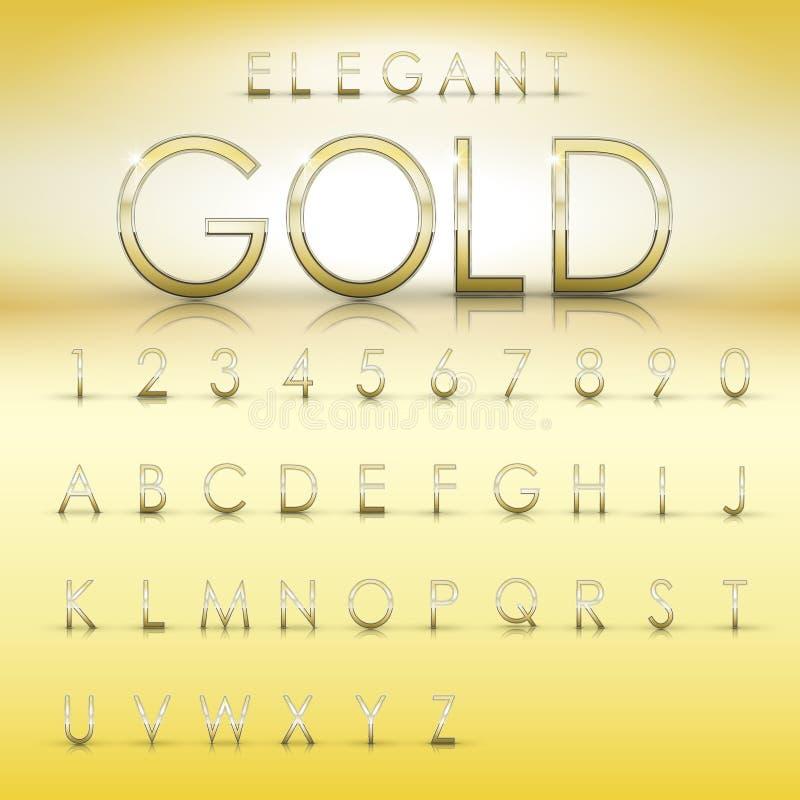 Eleganta guld- alfabet och nummersamling stock illustrationer