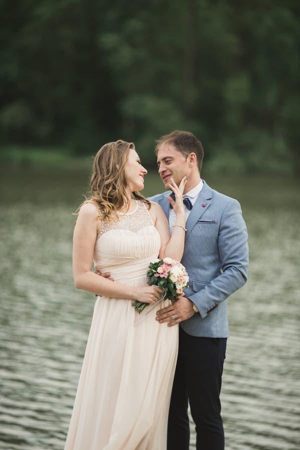 Download Eleganta Härliga Brölloppar Som Poserar Nära En Sjö På Solnedgången Arkivfoto - Bild av solnedgång, förbindelse: 78726920