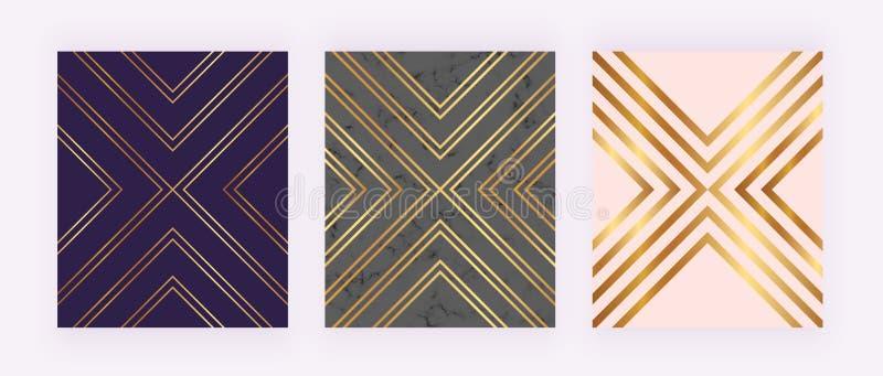 Eleganta lyxiga bakgrunder med guld- geometriska linjer, marmorerar textur, triangelformer Modern räkning för inbjudan, plakat, b royaltyfri illustrationer