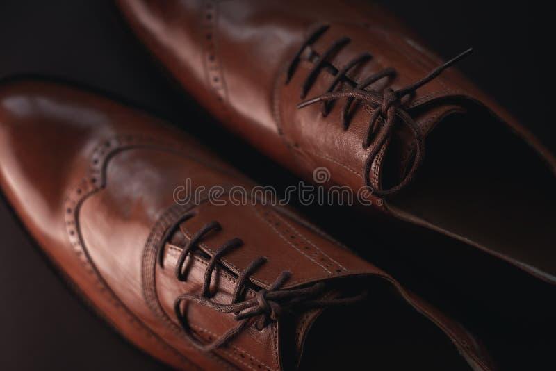 Eleganta mäns bruna skor arkivfoto