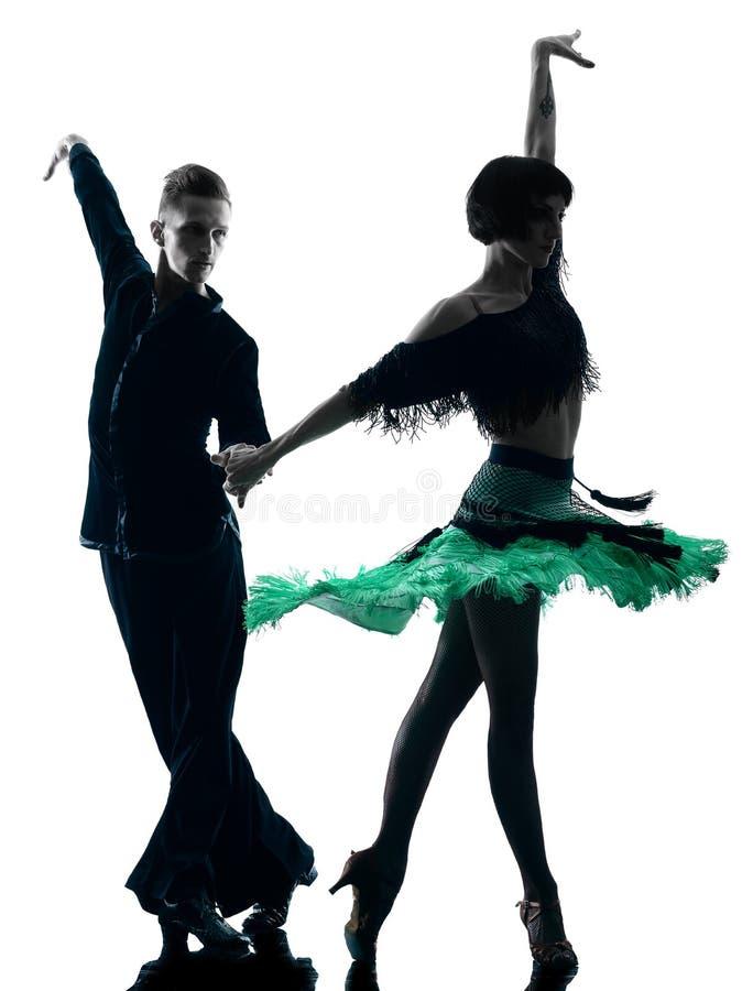 Eleganta pardansare som dansar konturn royaltyfria bilder