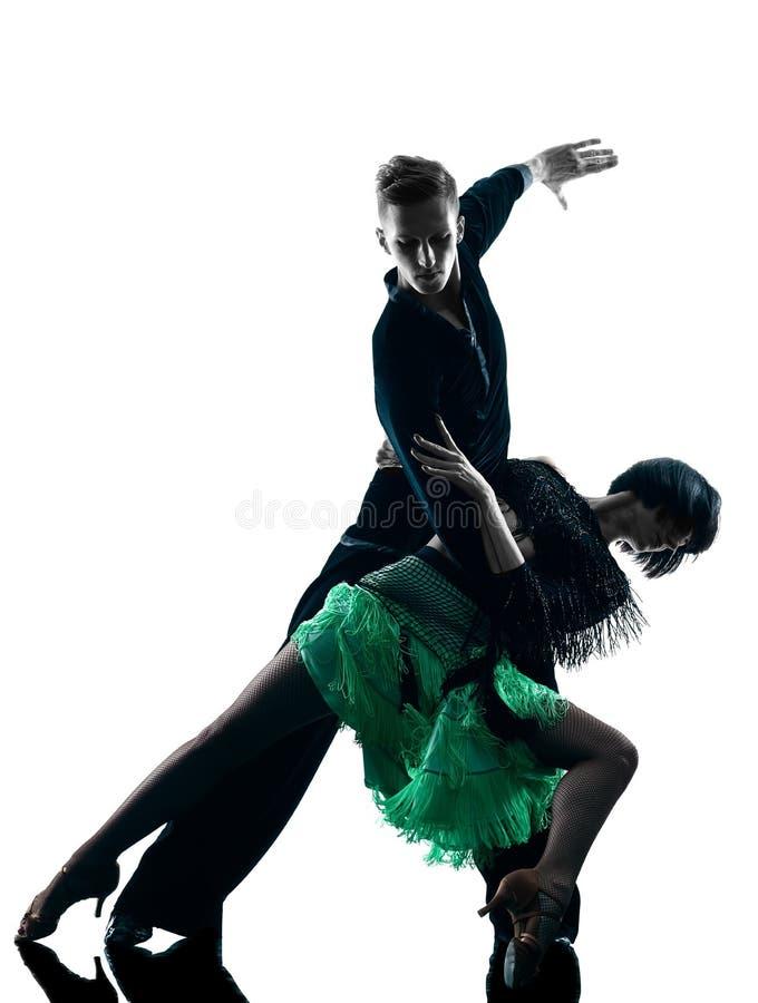 Eleganta pardansare som dansar konturn royaltyfri fotografi
