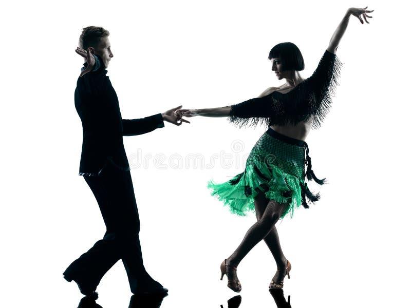 Eleganta pardansare som dansar konturn arkivbilder