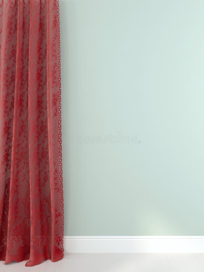Eleganta röda gardiner mot ett ljus - blå vägg royaltyfri illustrationer