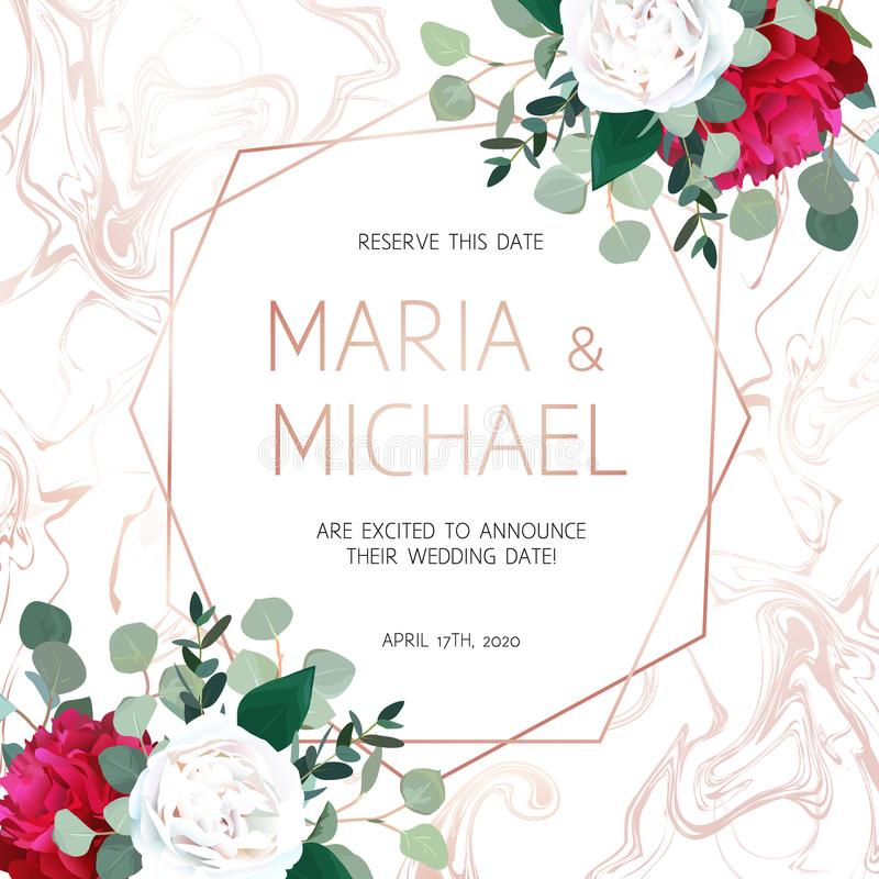 Eleganta rosa färger marmorerade vektorramen med vita och röda blommor royaltyfri illustrationer