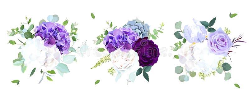 Eleganta säsongsbetonade mörka buketter för bröllop för blommavektordesign stock illustrationer