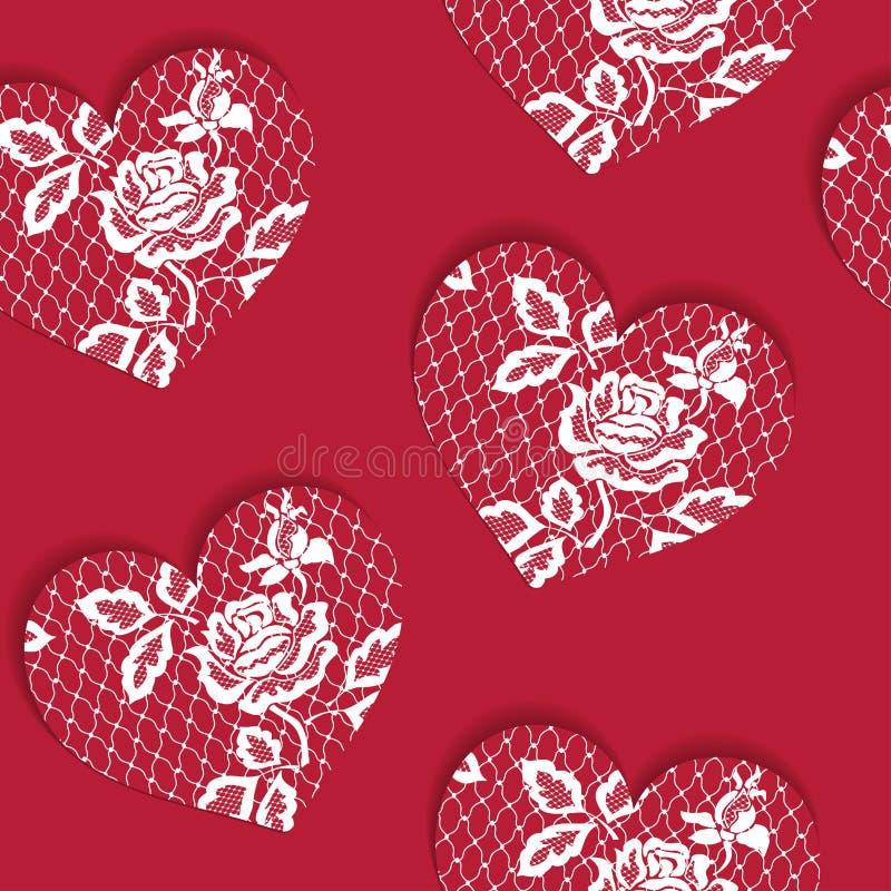 Eleganta sömlösa modellvalentin dag med spets- röda hjärtor vektor illustrationer