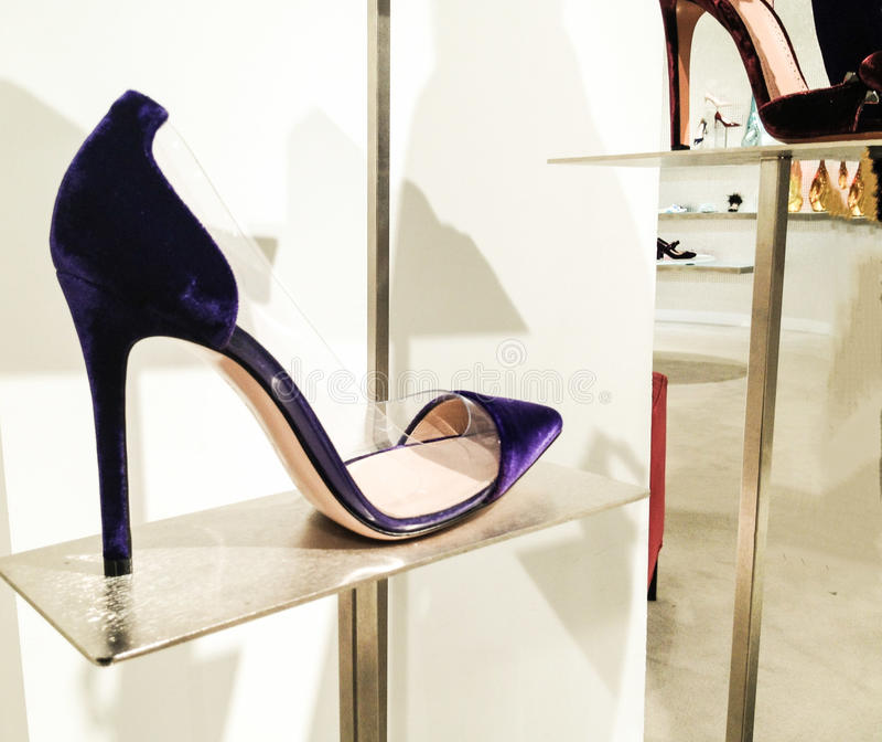 Eleganta skor för kvinnor för mockaskinnpunkt-tå pump arkivbilder