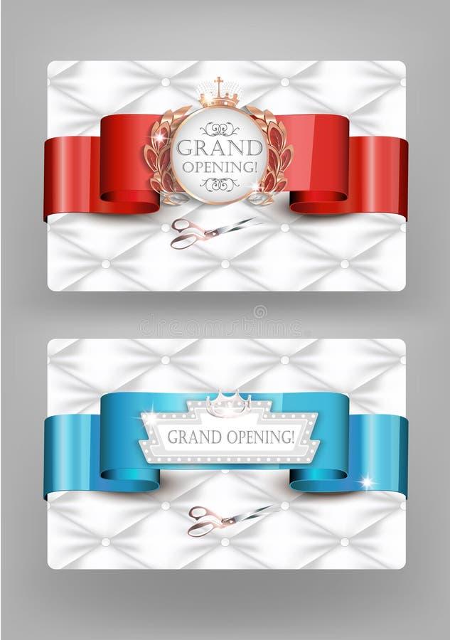 Eleganta tappningkort för storslagen öppning med textur för vitt läder royaltyfri illustrationer