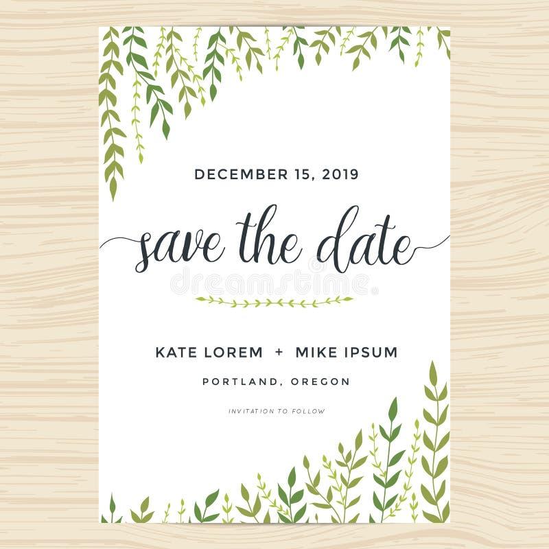 Eleganta trädgårds- blad planlägger för räddning datumkortet och att gifta sig inbjudanmallen stock illustrationer