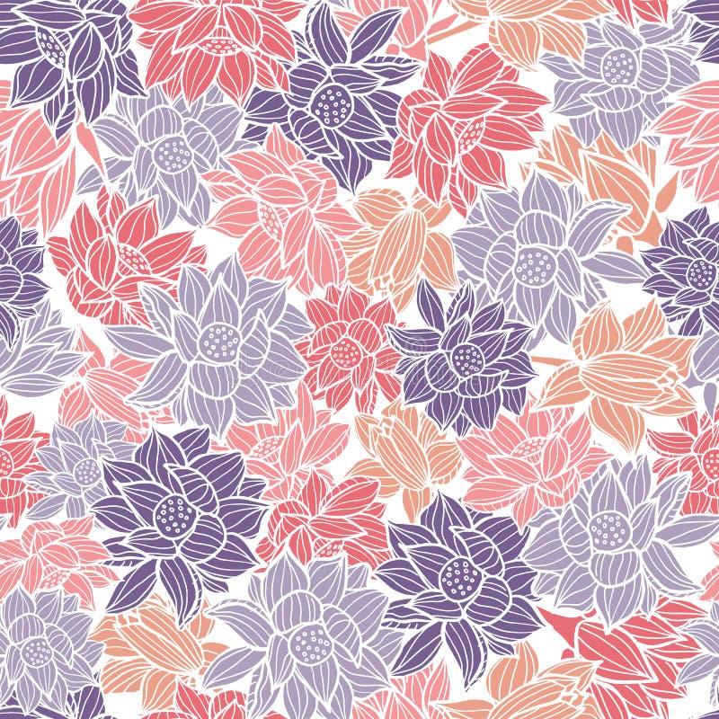 Eleganta waterlilies eller textur för bakgrund för modell för lotusblommablommor sömlös i en modern färgrik stil vektor vektor illustrationer