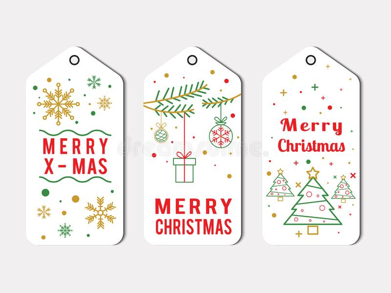 Elegante圣诞节在白色的标签组装 向量例证