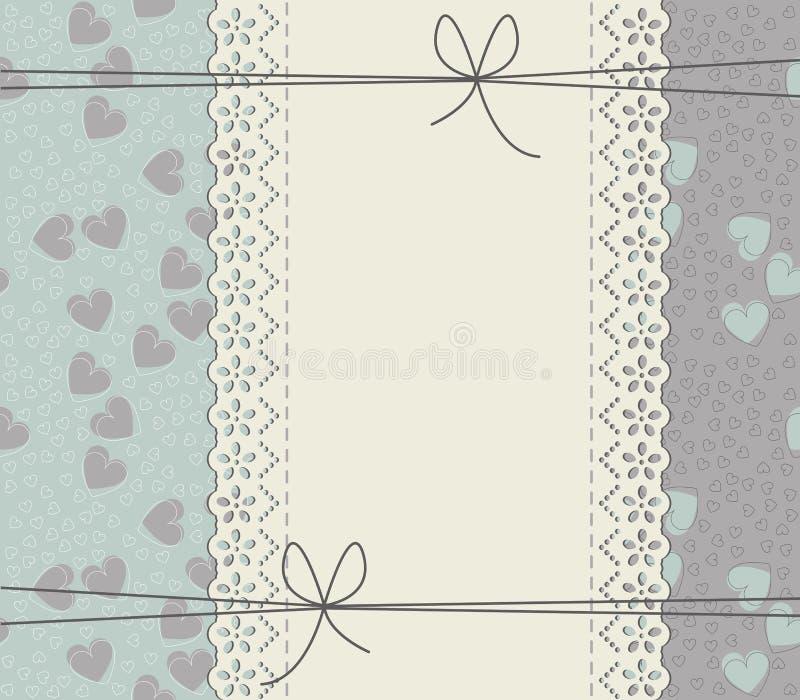 Elegante Abdeckung mit Spitzerahmen, elegante Herzen und Bögen vektor abbildung