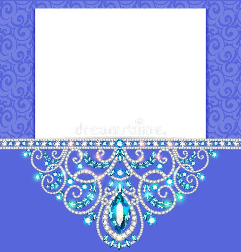 Elegante achtergrond met gouden ornament met diamantjuwelen, fra vector illustratie