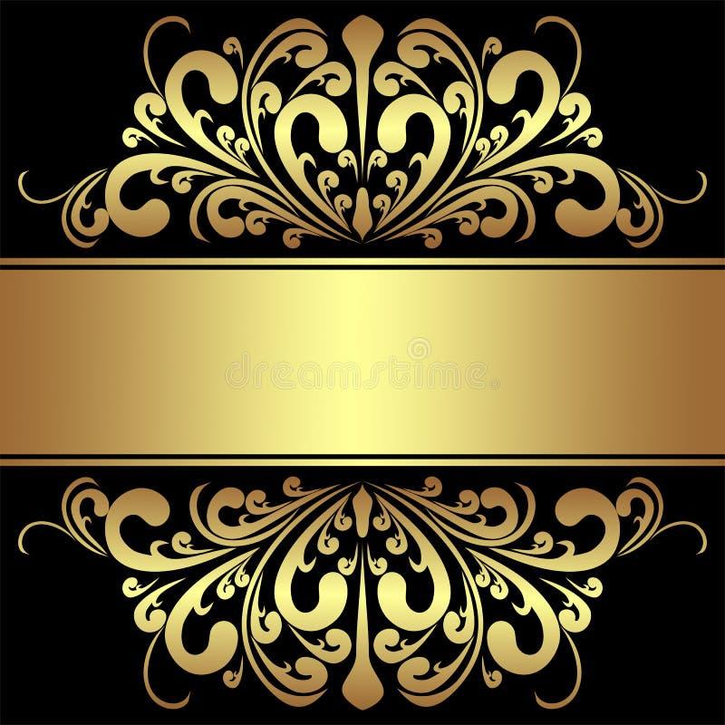 Elegante Achtergrond met koninklijk gouden Grenzen en Lint vector illustratie