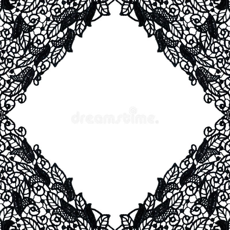Elegante achtergrond van zwarte guipure op een witte basis Het frame van het kant Patroon 08 Uitstekende stijl stock illustratie