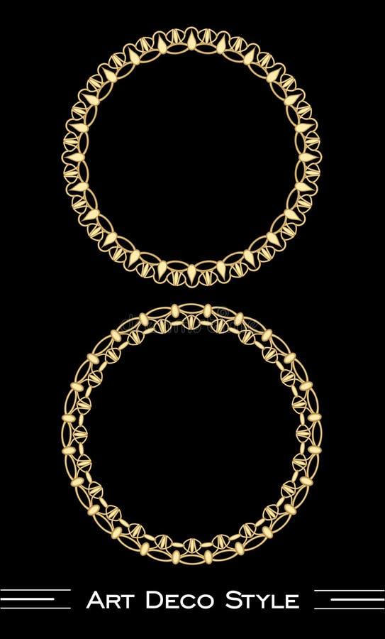Elegante antiquarische goldene Kreisrahmen in der Art- DecoArt, Illusion 3d in der mit Filigran geschmückten Verzierung stock abbildung