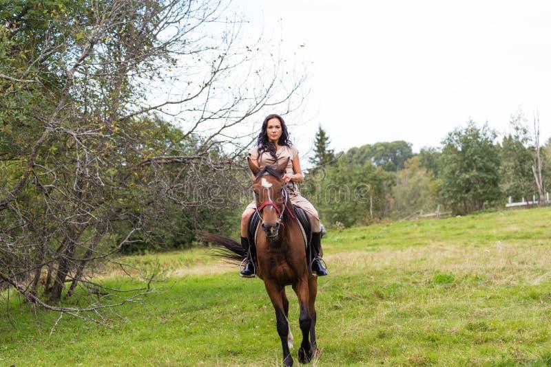 Elegante attraktive Frau, die ein Pferd reitet lizenzfreies stockfoto