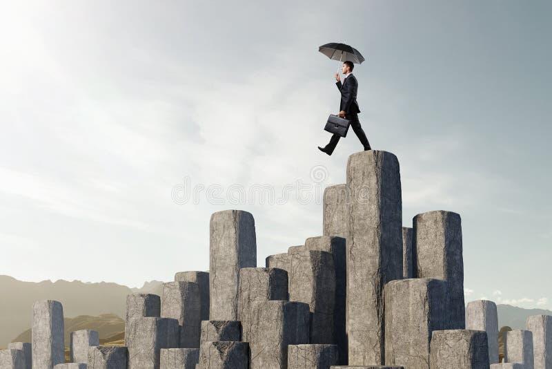 Elegante bankier met paraplu Gemengde media stock foto's