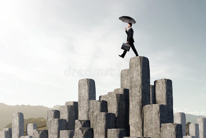 Elegante bankier met paraplu Gemengde media royalty-vrije stock foto