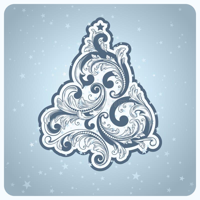 Elegante barokke stijlKerstboom. stock illustratie