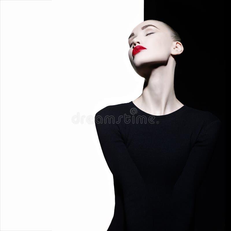 Elegante blode op geometrische zwart-witte achtergrond stock foto's
