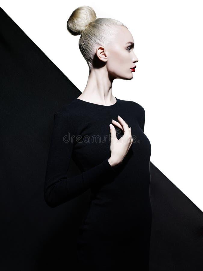 Elegante blode op geometrische zwart-witte achtergrond stock afbeelding