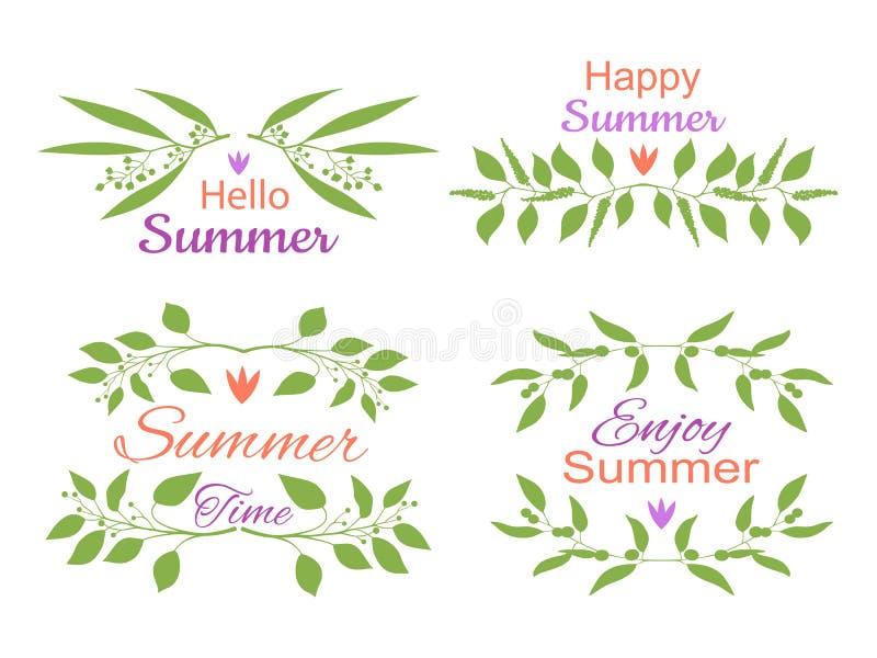Elegante bloemen decoratieve die elementen met de zomeruitnodigingen worden geplaatst royalty-vrije illustratie