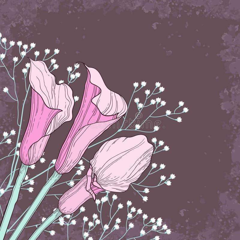 Elegante bloemenachtergrond met calla bloemen royalty-vrije stock fotografie