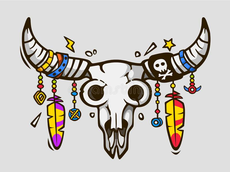 Elegante Boho Etnische tatoegeringsstijl Inheemse Amerikaanse of Mexicaanse stierenschedel met veren op hoornen stock illustratie
