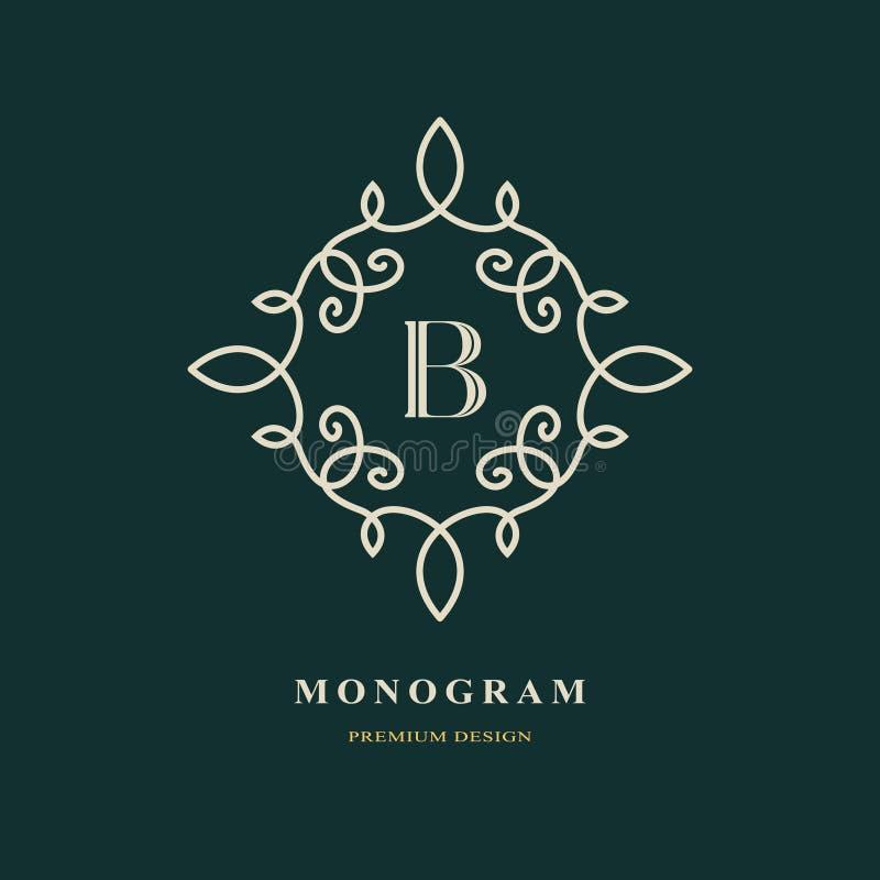 Elegante brief B Bevallige stijl Kalligrafisch mooi embleem Wijnoogst getrokken embleem voor boekontwerp, merknaam, adreskaartje, stock illustratie