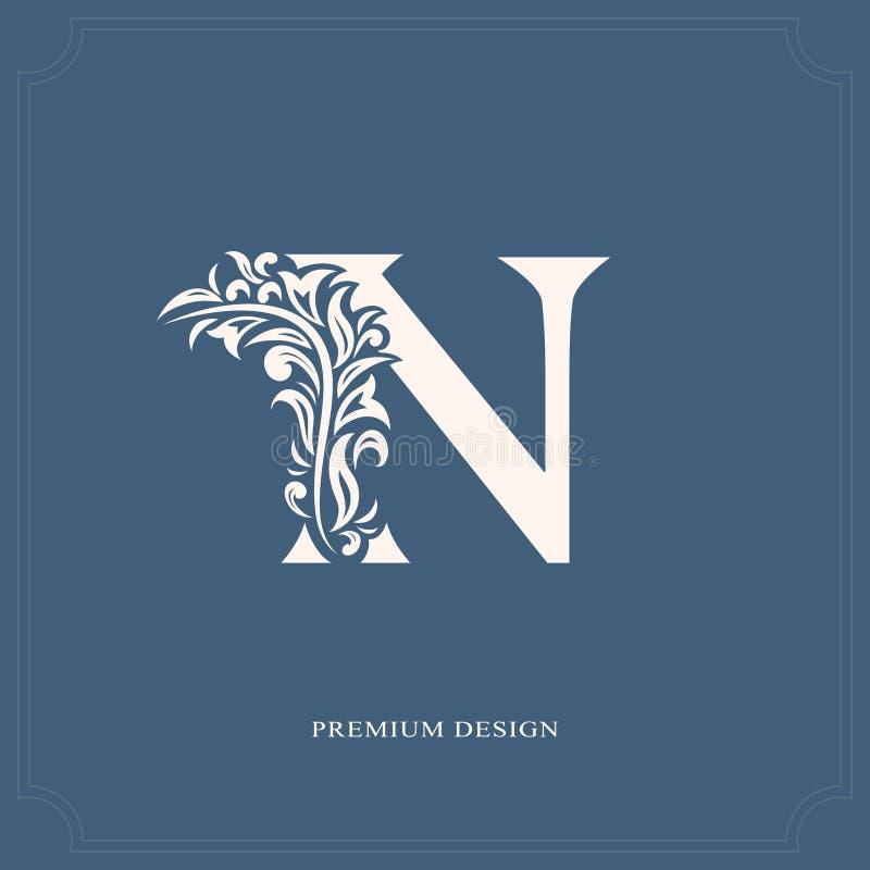 Elegante brief N Bevallige koninklijke stijl Kalligrafisch mooi embleem Wijnoogst getrokken embleem voor boekontwerp, merknaam, b royalty-vrije illustratie
