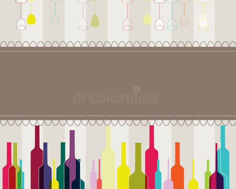 Elegante bunte Flaschen- und Glasabbildung stock abbildung