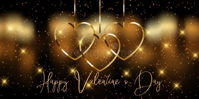 Elegante cartel dorado del Día de San Valentín imágenes de archivo libres de regalías