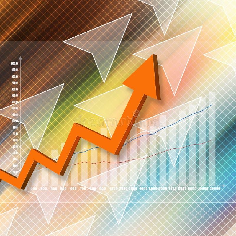 Elegante colorido del gráfico del mercado de acción en fondo abstracto stock de ilustración