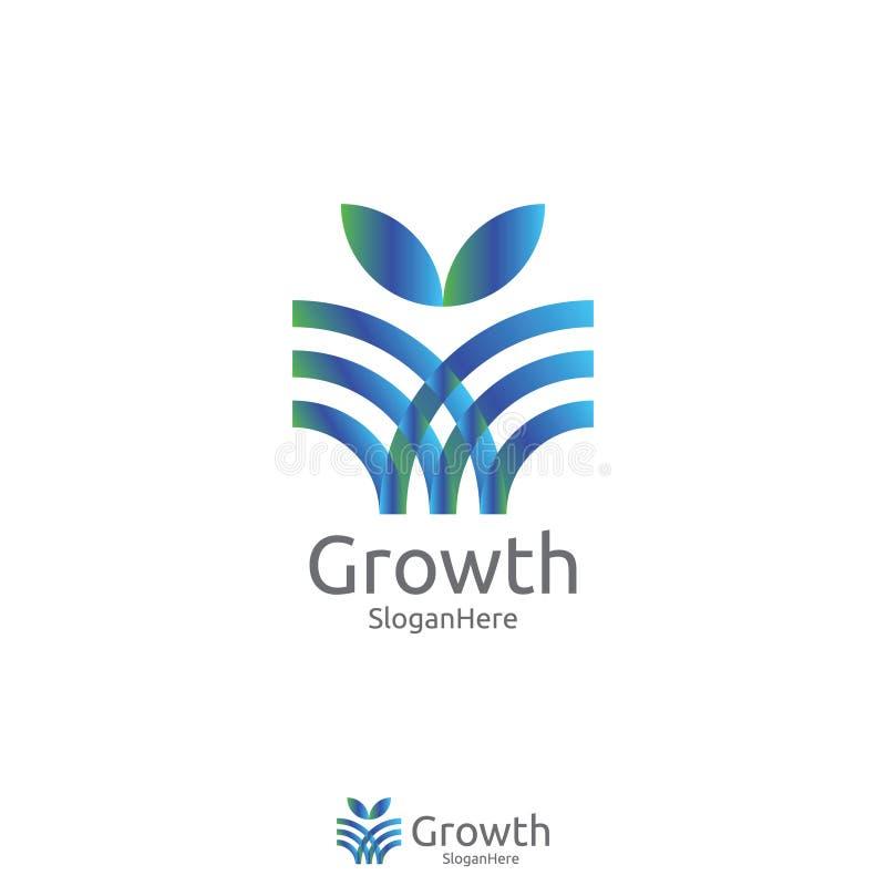 Elegante cresça o projeto do ícone do logotipo da folha ou da flor ilustração do vetor