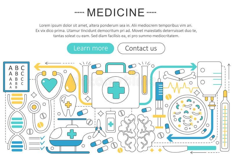 Elegante dünne Linie flaches Gesundheitswesen des Vektors Design der modernen Kunst und Medizinkrankenhauskonzept Websitetitelfah stock abbildung