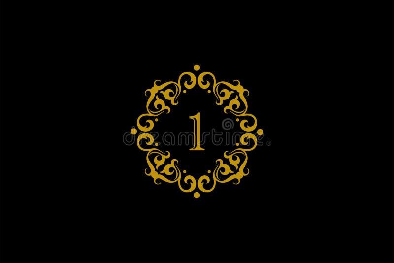 Elegante d'oro numero 1 Stile gradevole Calligraphic bellissimo logo illustrazione di stock