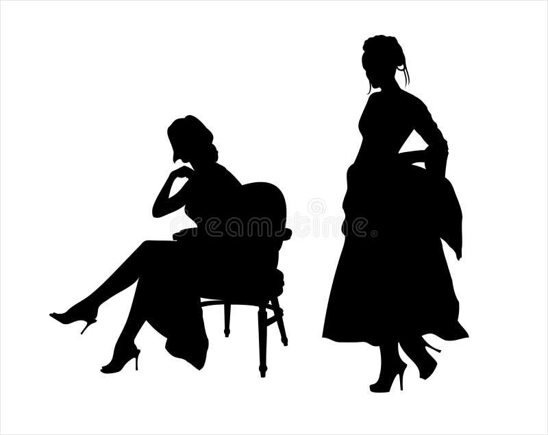 Download Elegante dames vector illustratie. Illustratie bestaande uit zitting - 10779156