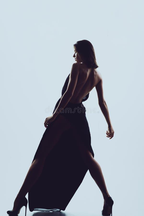 Elegante dansvrouwen Het sexy hete jonge vrouw dansen Manier royalty-vrije stock foto's
