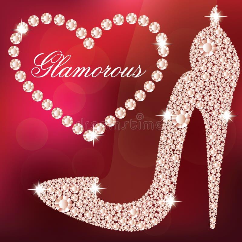 Elegante de schoenvorm van dames hoge die hielen, met glanzende diamanten wordt gemaakt royalty-vrije illustratie