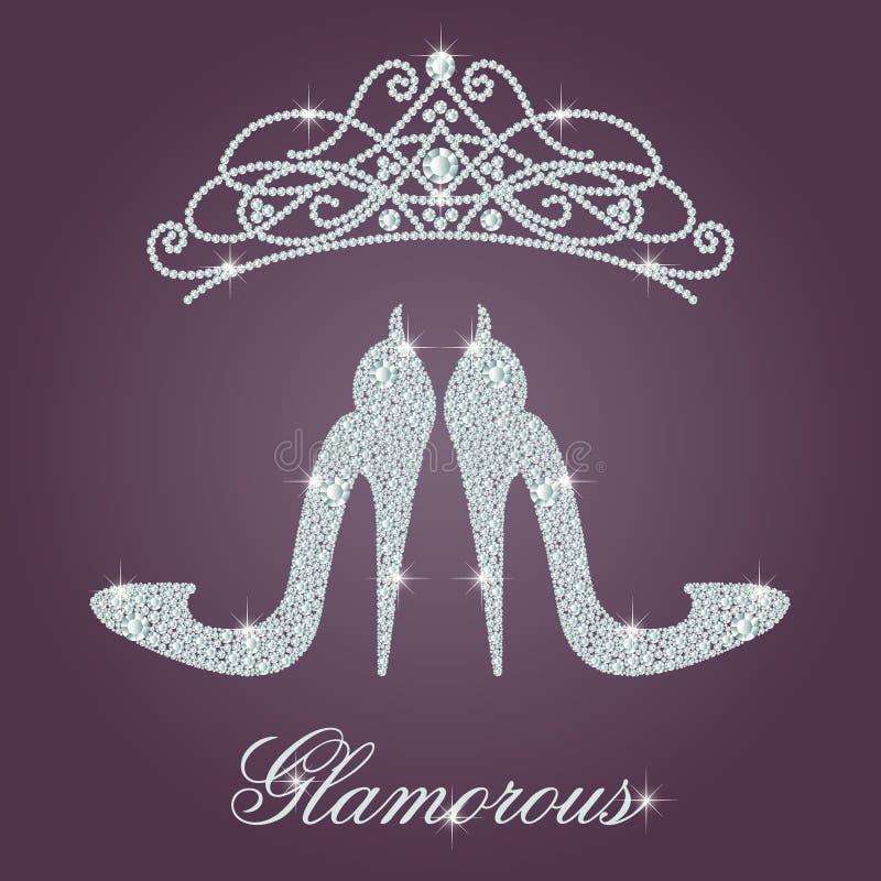 Elegante de schoenvorm van dames hoge die hielen, met glanzende diamanten wordt gemaakt vector illustratie