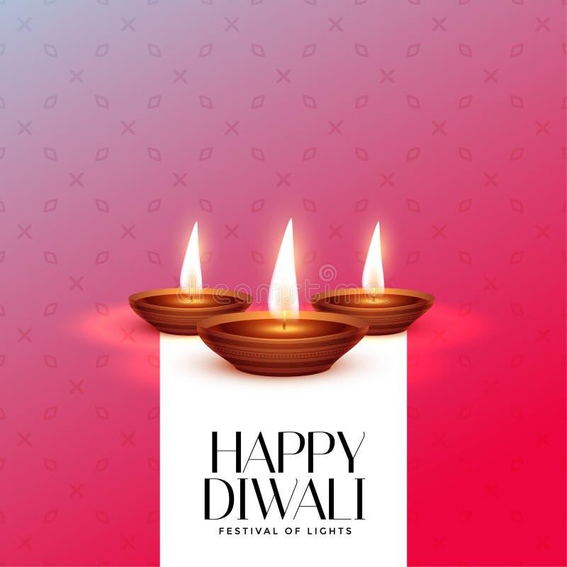 Elegante diwali Festival-Kartenentwurfsschablone mit brennendem diya lizenzfreie abbildung