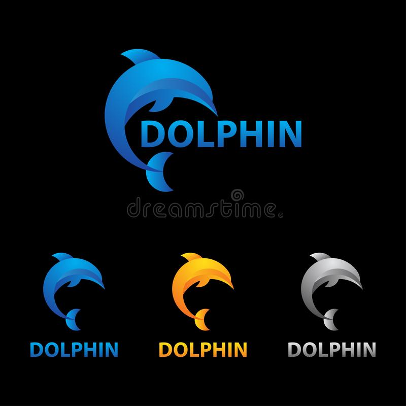 Elegante Dolfijn die Logo Concept springen stock illustratie