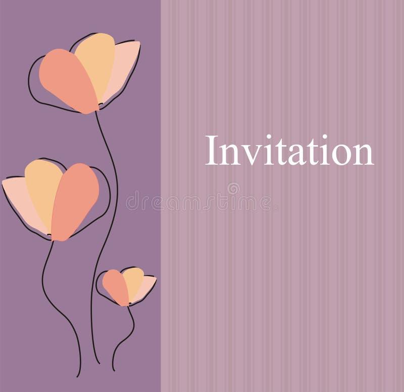 Elegante einfache Blumenhochzeits-Einladung lizenzfreie abbildung