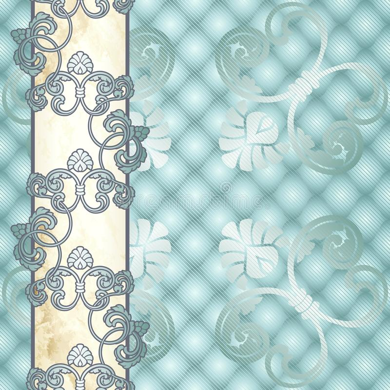 Elegante empalideça - o fundo Rococo azul com ornamento ilustração royalty free