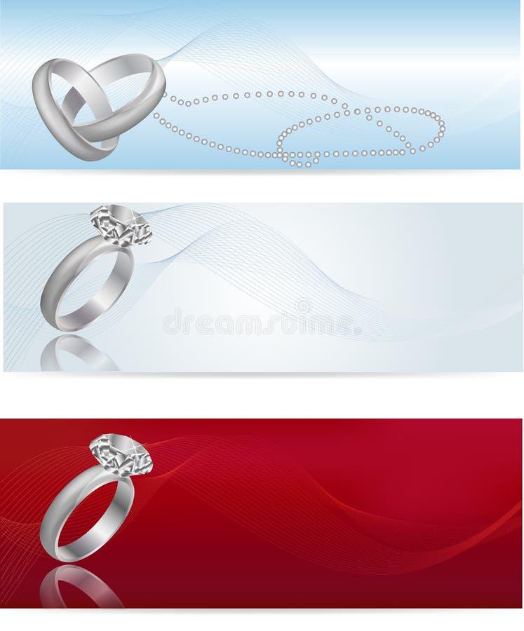 Elegante en modieuze witgoudverlovingsring vector illustratie