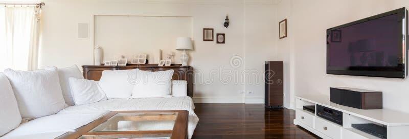 Elegante en modieuze woonkamer stock afbeelding